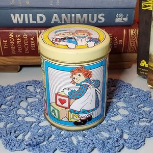 Vtg Raggedy Ann & Andy Block Letters Tin
